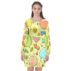 Cute Sketch Child Graphic Funny Long Sleeve Chiffon Shift Dress
