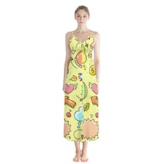 Cute Sketch Child Graphic Funny Button Up Chiffon Maxi Dress