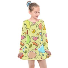 Cute Sketch Child Graphic Funny Kids  Long Sleeve Dress by Alisyart