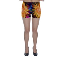 Color Background Structure Lines Rainbow Paint Skinny Shorts by Alisyart