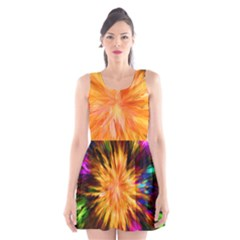 Color Background Structure Lines Rainbow Paint Scoop Neck Skater Dress by Alisyart