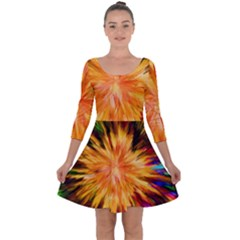 Color Background Structure Lines Rainbow Paint Quarter Sleeve Skater Dress