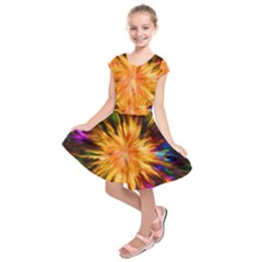 Color Background Structure Lines Rainbow Paint Kids  Short Sleeve Dress by Alisyart