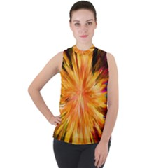 Color Background Structure Lines Rainbow Paint Mock Neck Chiffon Sleeveless Top