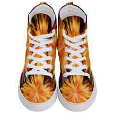 Color Background Structure Lines Rainbow Paint Women s Hi Top Skate Sneakers