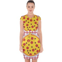 Pizza Table Pepperoni Sausage Capsleeve Drawstring Dress