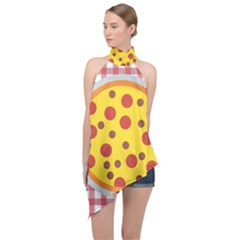 Pizza Table Pepperoni Sausage Halter Asymmetric Satin Top