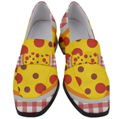 Pizza Table Pepperoni Sausage Women s Chunky Heel Loafers by Pakrebo