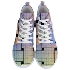 Construction Rectangle Steel Metal Men s Lightweight High Top Sneakers by Pakrebo
