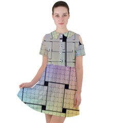 Construction Rectangle Steel Metal Short Sleeve Shoulder Cut Out Dress  by Pakrebo