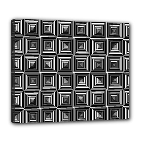 Pattern Op Art Black White Grey Deluxe Canvas 24  X 20  (stretched) by Pakrebo