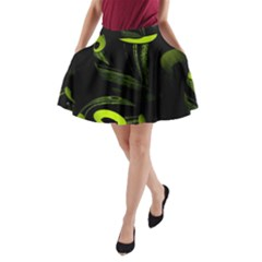 Fractal Fractals Green Ball Black A Line Pocket Skirt