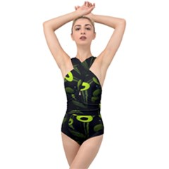 Fractal Fractals Green Ball Black Cross Front Low Back Swimsuit