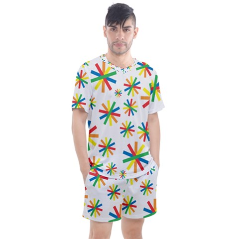 Celebrate Pattern Colorful Design Men s Mesh Tee And Shorts Set by Pakrebo