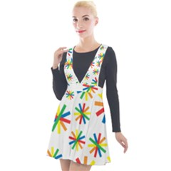 Celebrate Pattern Colorful Design Plunge Pinafore Velour Dress