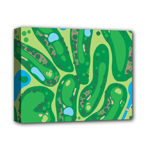 Golf Course Par Golf Course Green Deluxe Canvas 14  X 11  (stretched) by Pakrebo