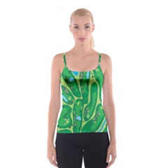 Golf Course Par Golf Course Green Spaghetti Strap Top
