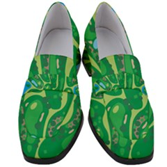 Golf Course Par Golf Course Green Women s Chunky Heel Loafers by Pakrebo