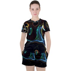 Abstract Background Pattern Women s Tee And Shorts Set by Pakrebo