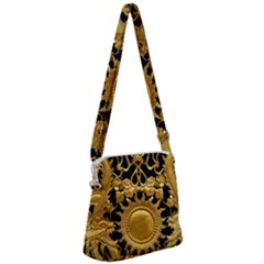Golden Sun Gold Decoration Wall Zipper Messenger Bag