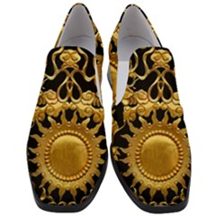 Golden Sun Gold Decoration Wall Slip On Heel Loafers