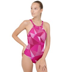 Pattern Halftone Geometric High Neck One Piece Swimsuit