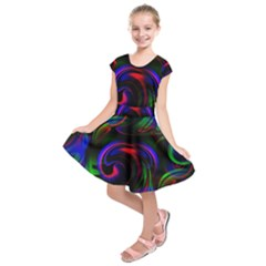 Swirl Background Design Colorful Kids  Short Sleeve Dress by Pakrebo