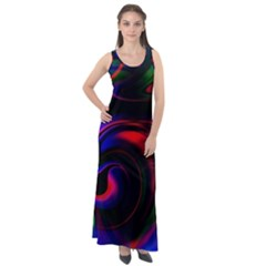 Swirl Background Design Colorful Sleeveless Velour Maxi Dress