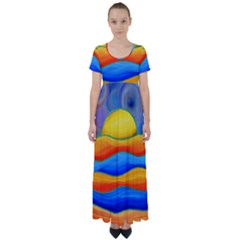 Paint Painting Landscape Scene High Waist Short Sleeve Maxi Dress by Pakrebo