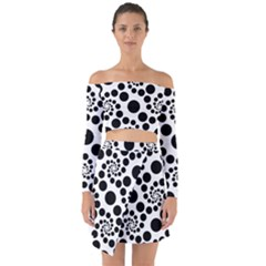 Dot Dots Round Black And White Off Shoulder Top With Skirt Set