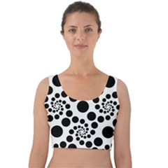 Dot Dots Round Black And White Velvet Crop Top