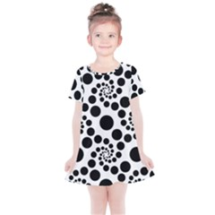 Dot Dots Round Black And White Kids  Simple Cotton Dress