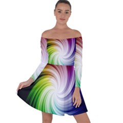 Rainbow Swirl Twirl Off Shoulder Skater Dress
