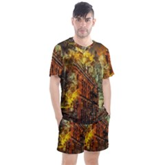 Flat Iron Building Architecture Men s Mesh Tee And Shorts Set