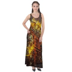Flat Iron Building Architecture Sleeveless Velour Maxi Dress