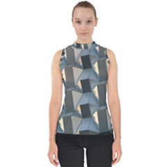 Pattern Texture Form Background Mock Neck Shell Top