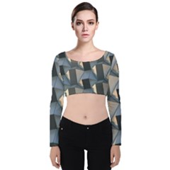Pattern Texture Form Background Velvet Long Sleeve Crop Top