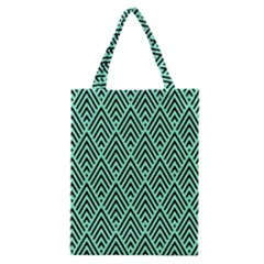 Chevron Pattern Black Mint Green Classic Tote Bag by Pakrebo