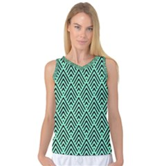 Chevron Pattern Black Mint Green Women s Basketball Tank Top