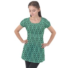 Chevron Pattern Black Mint Green Puff Sleeve Tunic Top