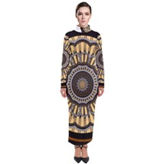 Mandala Pattern Round Ethnic Turtleneck Maxi Dress