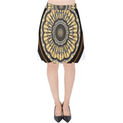 Mandala Pattern Round Ethnic Velvet High Waist Skirt