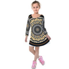Mandala Pattern Round Ethnic Kids  Long Sleeve Velvet Dress