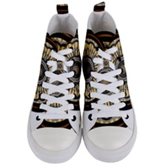 Mandala Pattern Round Ethnic Women s Mid Top Canvas Sneakers