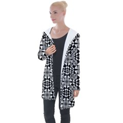Fabric Design Pattern Color Longline Hooded Cardigan