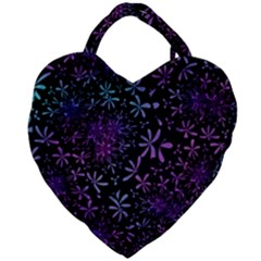 Retro Flower Pattern Design Batik Giant Heart Shaped Tote by Pakrebo