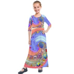 Swirl Vortex Emoji Cyclone Motion Kids  Quarter Sleeve Maxi Dress by Pakrebo