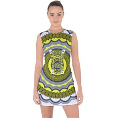 Mandala Pattern Round Ethnic Lace Up Front Bodycon Dress