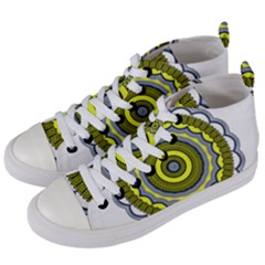 Mandala Pattern Round Ethnic Women s Mid-top Canvas Sneakers by Pakrebo