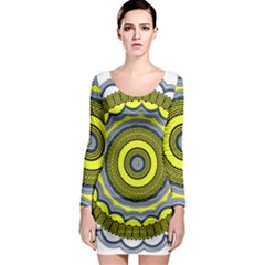 Mandala Pattern Round Ethnic Long Sleeve Bodycon Dress